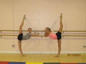 Morgan and Imi stretching for their scorpions!  Wow!
